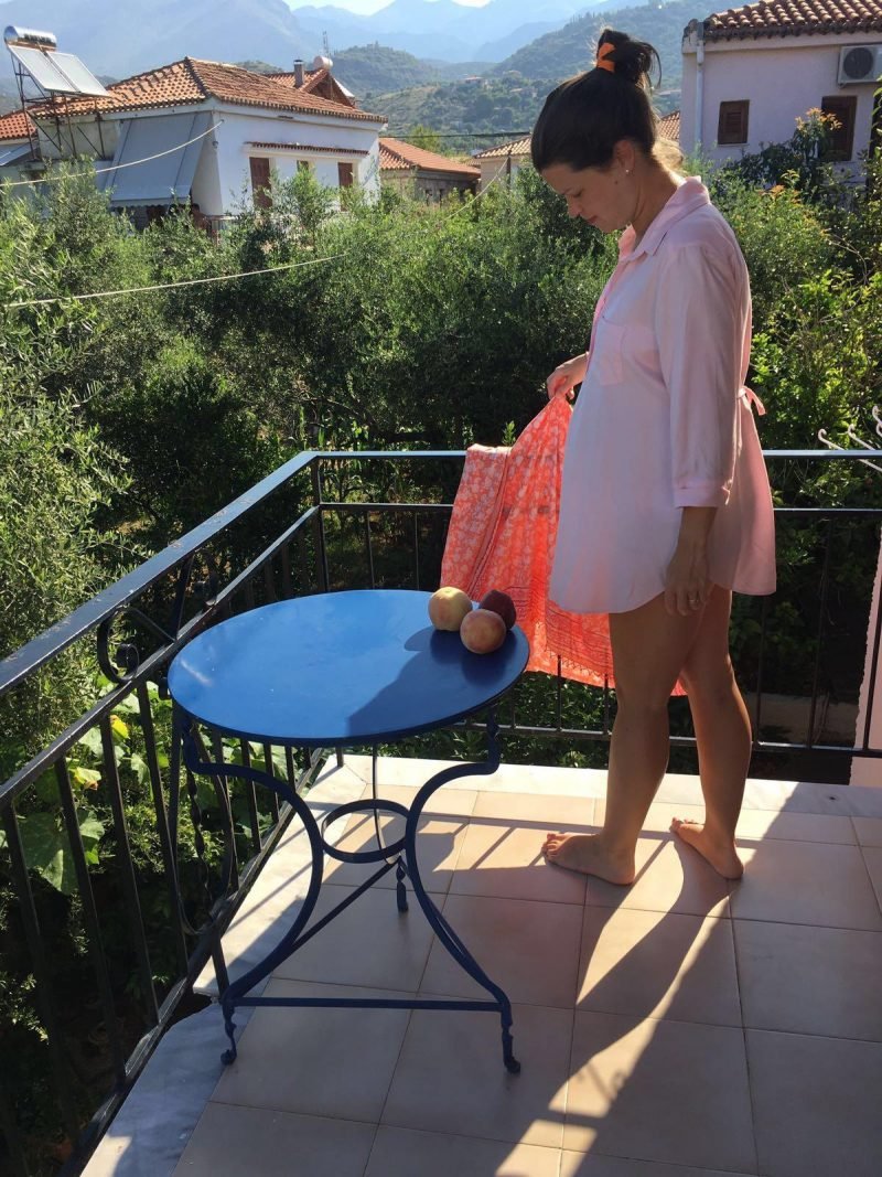 maternity wear: pink shirt from Isabella Oliver