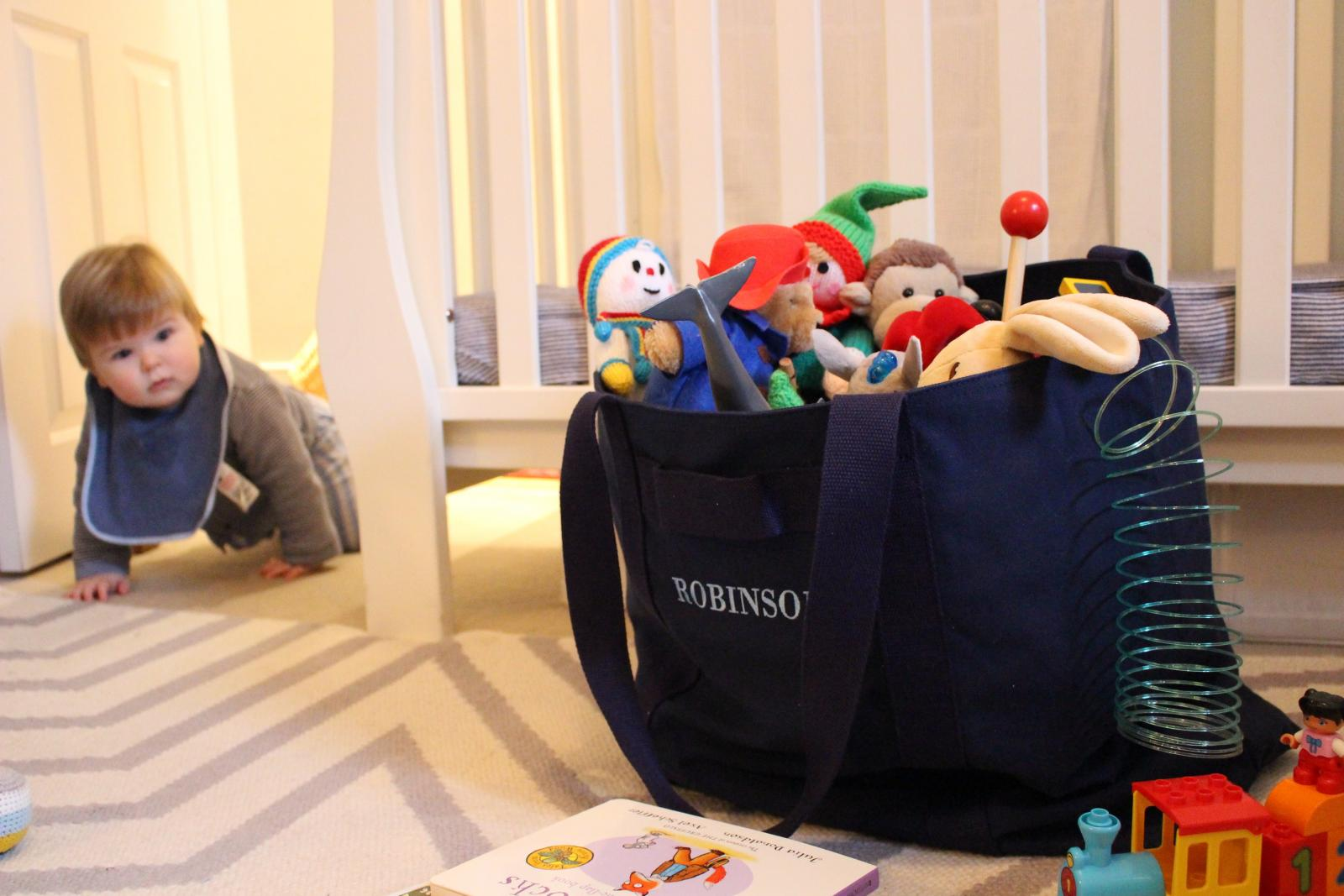 Moving house - Teddy's all packed (bag from Marloe London)