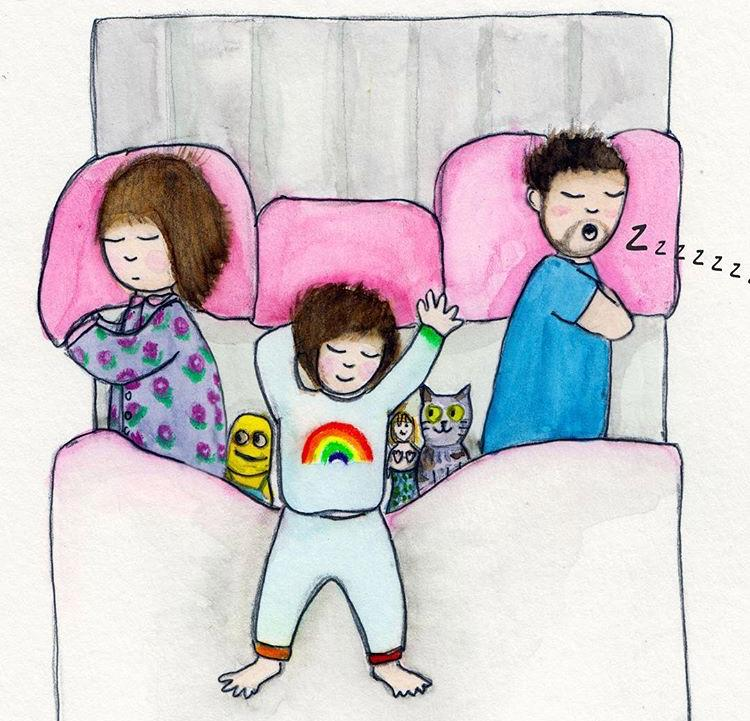 The realities of parenting - three in a bed