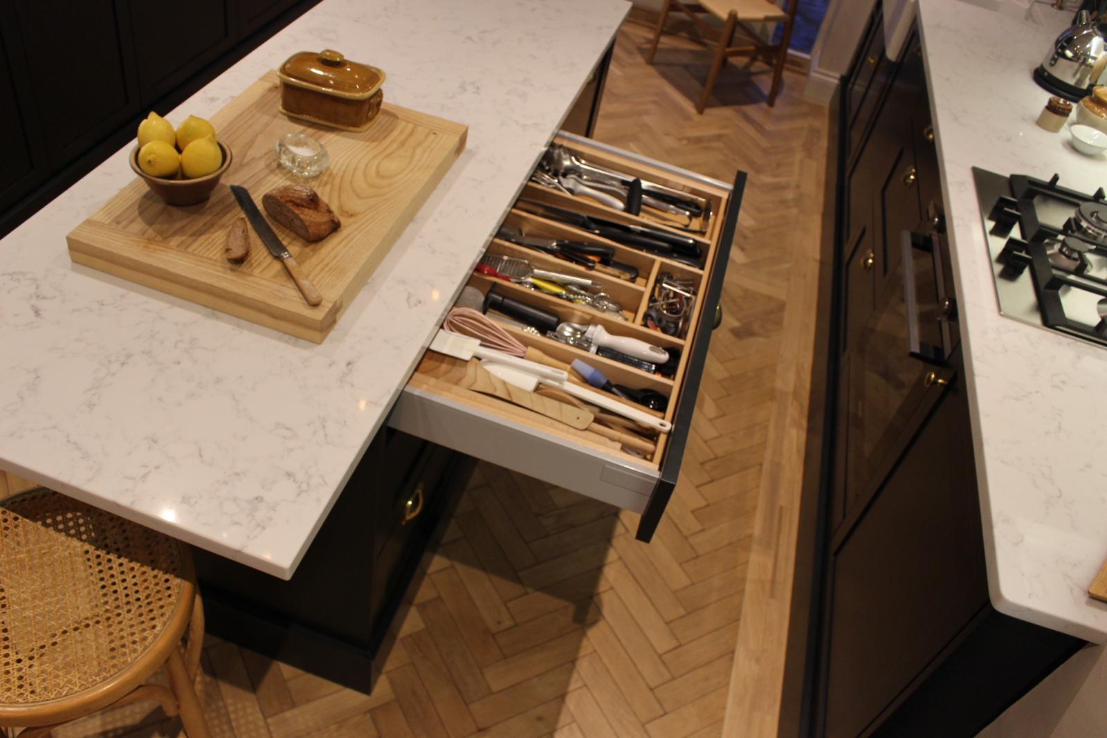 Kitchen Design Inspiration - handmade drawer inserts