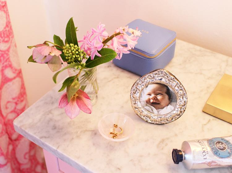 Our pink bedroom - Rosie's bedside table