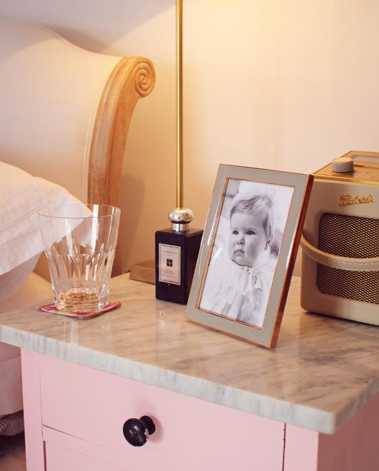 Our pink bedroom - my bedside table