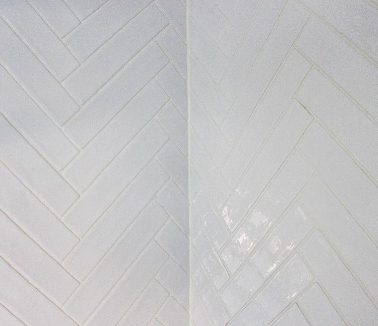 New family bathroom - Artisau gloss white tile herringbone style