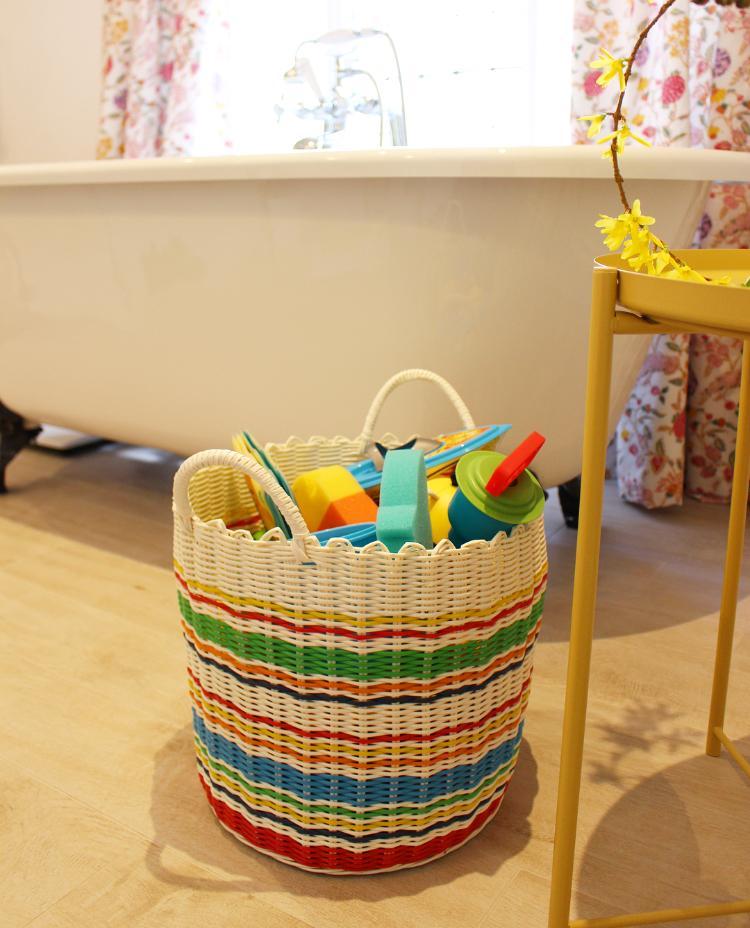 New family bathroom - toy basket