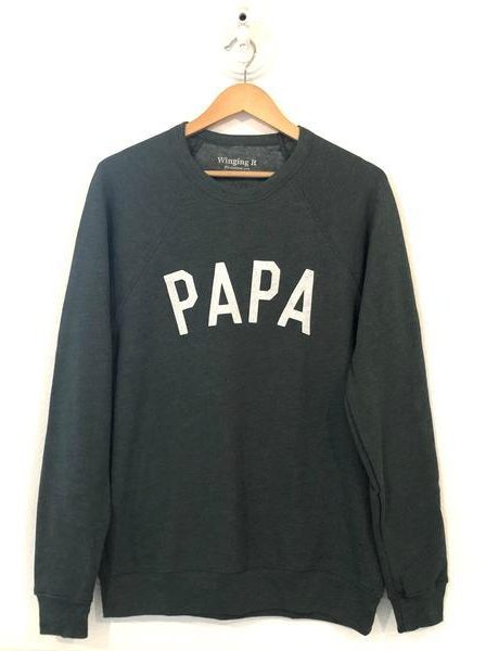 Thoughtful gifts for men - PAPA sweatshirt in Forest Green