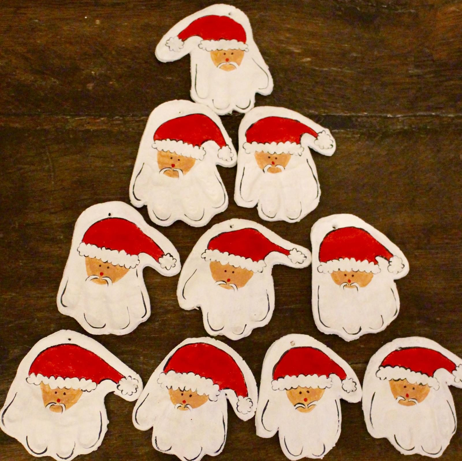 CHRISTMAS CRAFTS – Salt Dough Father Christmas Handprint Decorations